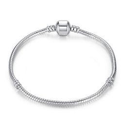 2019 rosa turmalin perlen 925 Sterling Silber plattiert 3MM Schlangenkette European Beads für Pandora Bracelet Bangle Halskette Kette ohne Logo 16CM-45CM 12 Stck