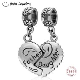 cbc4427b9 birthday pandora charms Promo Codes - Haha Jewelry A Pair Father Daughter  Heart Dangle Charm 925