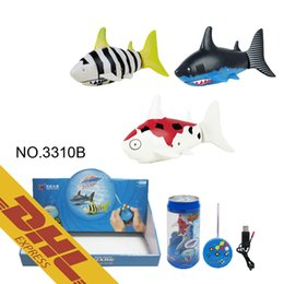 Wholesale Wholesale Metal Watering Cans - 36pcs lot Mini RC Shark Under Water Coke Zip-top Pop-top Can 4CH Radio Remote Control Fish 3 Colors 3310B Toys for Kids Xmas Gift