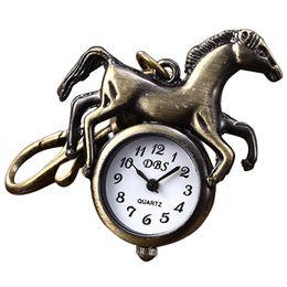 Relógio de bolso de quartzo cavalo on-line-Moda Homens Mulheres Cavalo Pingente Chaveiro Anel Chave de Quartzo Relógio de Bolso Pingente de Bronze Vivid Correndo Bonito Animal de Quartzo Analógico Bolso Relógios