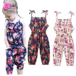 Wholesale Wholesale Zebra Print Flowers - Wholesale baby clothes Girl's Floral Jumpsuit Suspender Trousers Pant 95% Cotton Flower Print Kids Summer A-530