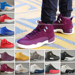 Wholesale Plush 12 - 12 mens basketball shoes Bordeaux Dark Grey wool ovo white GS Barons Flu Game UNC Gym red taxi gamma french blue Suede sneakers Sport shoes