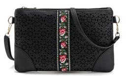 Оптовая продажа-новый сезон женщина этнический крест сумка выдалбливают цветочные сумка леди черная сумка дизайнер новый сумка весна сцепления от