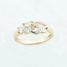 Wholesale 585 Ring - FJ 6mm White Stone Cubic Zircon Wedding Flowers Shaped Rings Women 585 Rose Gold Color Fashion Rings