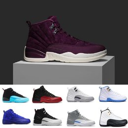 Wholesale Games Fabric - 2018 XII 12 Bordeaux 12s men Basketball shoes white black the master GS Barons Wolf Grey flu game taxi playoff gym red Sneakers