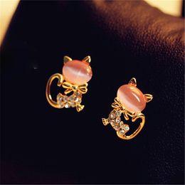 Wholesale Cat Crystal Stud Earrings Gold - New Fashion Crystal Eyes Cat Earring Cute Fine Black Kitten Animal Jewelry Piercing Ear Stud Earrings For Women Girl
