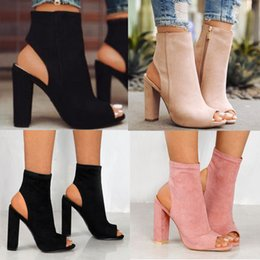 Wholesale Women Chunky Heels - New Womens ladies chunky heels Peep Toe Ankle Strap Comfy Shoes