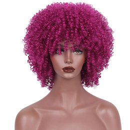 Wholesale Short Hair Wigs Fluffy Synthetic - AISI Beauty Short Fluffy Afro Kinky Curly Hair Wigs with Bangs Synthetic Heat Resistant Women Hairstyles Daily Were Dark Purple Color Wigs