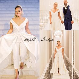Wholesale Simple Wedding Dress Muslim Woman - 2018 Women Jumpsuit Wedding Dresses Elegant White Satin Bridal Pantskirt Gowns With Wide Long Train Big V Neck Zipper Back