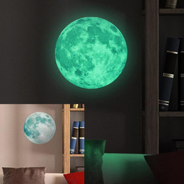 Wholesale Moon Sticker - 30cm Large Moon Glow In The Dark Luminous DIY Wall Sticker Living Home Decor Paredes Stickers Muraux Free Shipping
