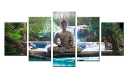 Wholesale abstract art buddha - Amosi Art 5 Panels Canvas Wall Art Buddha Statue The Beautiful Forest Waterfall Background Canvas Painting for Home Decoration Wall Picture