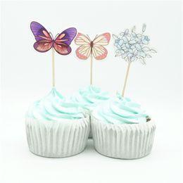 Mariposas para baby shower online-48pcs / lot diseños de mariposa Cupcake Toppers Selecciones tema de dibujos animados decoraciones del partido Baby Shower Kids Birthday Party Favors