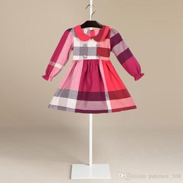 Wholesale blue lolita dress long sleeves - 3 color Hot sell 2018 NEW arrival spring Girls Kids long Sleeve dress kids causal high quality cotton baby kids lapel big plaid dress