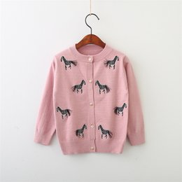 Wholesale Infant Cardigan Sweaters - Kids Girls Cardigan Coat 2-7Year Baby Girl Tassel Zebra Embroidery Sweaters Infant Princess Knitted Jackets 2018 New Children Clothing D471