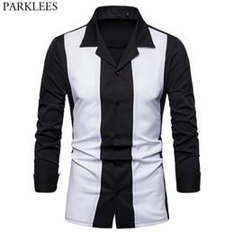 Черная рубашка с длинным рукавом онлайн-White Black Patchwork Shirt Men 2018  New Slim Fit Long Sleeve Mens Dress Shirts Casual Button Down Hit Color Chemise Homme