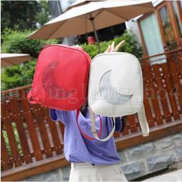 Wholesale book bags for girls - Summer Transparent Moon Shape Backpack Cute School Backpack Shoulder Bags For Teenager Girls Mini Book Bag KKA5536