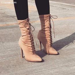 zapatos de tacones de sexo Rebajas Nuevos zapatos de invierno para mujer. Cabeza afilada. Martin. Botas. Tela elástica. Atractivo. Zapatos de tacón alto. Banquete. Botas de barril medio. 35-40.