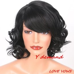 Wholesale Short Female Wigs - Classic Spot Wigs Female Short Black Wig Synthetic Wig For Women In Stock High Temperature Fiber Celebrity Wig Wholesale