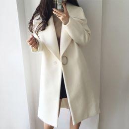 Cappotto di baco di lana delle donne online-New Winter Coat Women Risvolto Moda Elegante stile Cocoon Bianco Cappotto in lana Donna Abrigo Mujer Long Parka Giacca in lana C3745