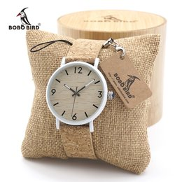 Wholesale Custom Logo Watches - BOBO BIRD Mens Womens Bamboo Wooden Watch Dial Stainless Steel Case With Cork Leather BandThickness custom logo in gift box