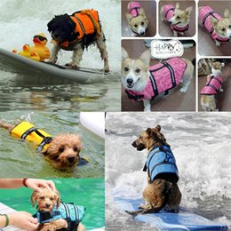 Wholesale life sized dogs - Pet Dog Life Jacket Safety Clothes Surfing Life Vest Reflective Stripes Summer Swimwear 5 Sizes for Swimming Beach Pool