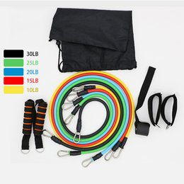 Wholesale Rope Pulleys - Multi-Function 11 Wall pulley Sets Resistance Bands Elastic Rope Leather Belt Latex Tube Men Women Yoga Fitness Arm Equipment
