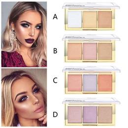 Paleta de minerales online-PUDAIER 3 colores Color de la Cara Polvo Contorno de maquillaje Maquillaje Pigmento Oro blanco Desnudo Brillo Mineral Polvo Maquillaje Paleta de resaltado