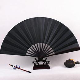 Wholesale fabric folding hand fans - Blank Black Hand Fan Large Chinese Bamboo Silk Folding Fan DIY Wedding Program Fan Adult Fine Art Painting 1pcs