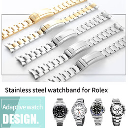 Canada Bracelet de montre 20mm Bracelet de montre en acier inoxydable 316L Bracelet Fin Curved Silver Watch Accessoires Homme Bracelet pour Submariner Gold + Outils Offre