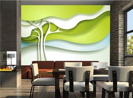 Wholesale Tv Wall Design Wallpaper - Custom Any Size 3D Photo Wallpaper Modern Design Green Abstract Trees Mural Living Room Bedroom TV Background Wall Paper Rolls