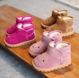 ab92e60b1324d Hiver Nouveaux dessins d enfants Bottes Bottes filles Bottes de neige  Garçons Chaussures de coton Plus Velours Chaussures de bébé Bottes Rose  Marron Rouge