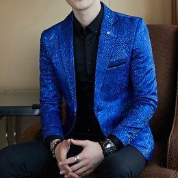 Wholesale Coat Business - Rose Jaquard Print Slim Fit Blazer Royal Blue Black Promo Blazer For Men Stylish Blazer Business Casual Party Wedding Suit Coat