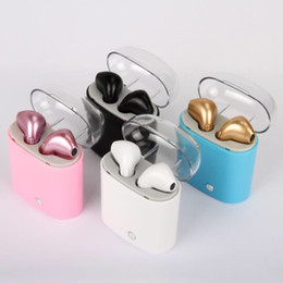 Wholesale bluetooth iphone pairing - i7 i7S TWS Twins Wireles Earphone Mini Bluetooth V4.2 Earbuds Stereo Headset Pair Set With Charger Box For Iphone Sumsung