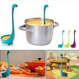 Wholesale ladle stand - Nessie Colander Loch Stand Soup Spoon cartoon Ladle Monster Ness Strainer Kitchen Tools Colander Silicone Tea Infuser FFA157 100PCS