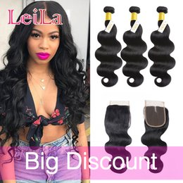 Wholesale Hair Color 14 - Peruvian Virgin Hair Body Wave 3 Bundles With 4X4 Lace Closure Unprocessed Human Hair Weaves Can Be Dyed Natural Color 8 inch-28inch