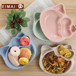 Wholesale Green Products Kids - Healthy Wheat Straw Material Kid Tableware Plate Biodegradable Green Product Cute Children Bowl 1 Pcs Aa02