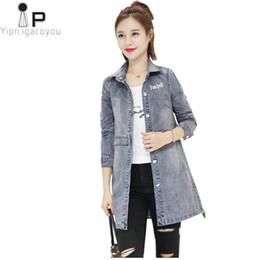 Harajuku Bahar Kot Kadın Ceket 2018 Kore Moda Büyük Boy Ince Uzun Womens Rüzgarlıklar Vintage Befree Kadın Denim Ceket cheap korean womens fashion jeans nereden kore bayanlar moda kot tedarikçiler