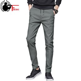 Koreanische grüne hose online-Sommer Mens Stretch Hosen koreanische beiläufige Slacks dünne gerade Passform elastische Taille Jogger Chino Kleid Hose männlich schwarz blau grün