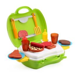 Wholesale flash simulation - 23pcs Kids Mini Simulation Kitchen Barbecue Tools Box Educational Pretend Play Toy Present