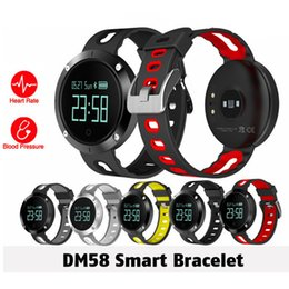 Wholesale Iphone Blood - DM58 Heart Rate Smart Watch IP68 Waterproof Blood Pressure Fitness Tracker Sports Watch for IOS iphone 8 Android