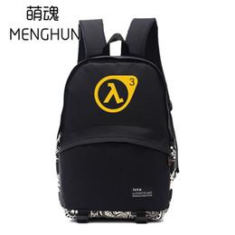 Wholesale Used Half - Black Nylon backpack half life backpacks game fans daily use big backpack school bag for student NB135