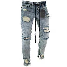 punk jeans xl Sconti European American Fashion Streetwear Uomo Jeans skinny jeans strappati Distrutto rotto Punk Pants Homme Uomini di Hip Hop