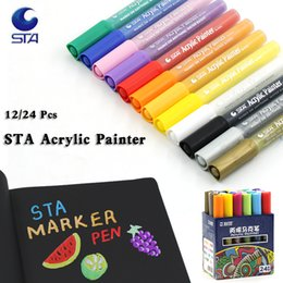 Wholesale 24 36 Painting - STA Bright12 24 Colors Acrylic Marker Pens Highlighter Waterproof DIY Paint Marker Pen Art Design for School Supplier