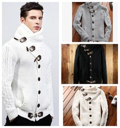 Wholesale Knit Sweaters For Winter Mens - Mens Cardigan Sweater Coat Autumn Winter Casual Turtleneck Sweatercoat for Men Loose Warm Knitting Clothes Sweater Coats KKA3822