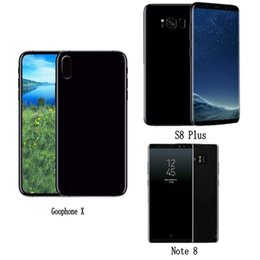 Wholesale dual cards bluetooth cell phone - Free DHL Goophone X S8 plus Note 8 i8 plus Quad Core 16GB ROM Android 7 Cell Phones Show Octa 64GB 4G LTE Smartphone Sealed box