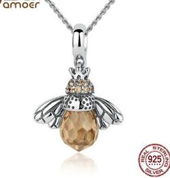 Wholesale Orange Resin Necklace - Bamoer 925 Sterling Silver Lovely Orange Bee Animal Pendants Necklace For Women Fine Jewelry Cc035