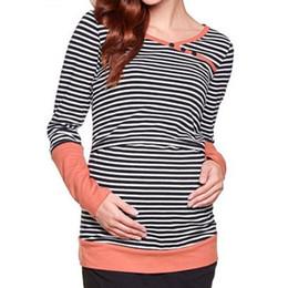 93f280762 Talla grande Otoño Manga larga Embarazo Enfermería Ropa de maternidad Rayas  Lactancia materna Camiseta Ropa de enfermería Mujeres embarazadas rebajas  ...