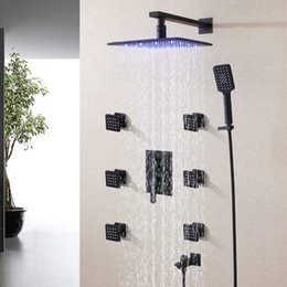 Wholesale Square Tap Set - Blacken Bathroom Shower Faucet Set 250X250 LED Temperature Sensitive Rainfall Shower Head Bath & Shower Mixer Tap