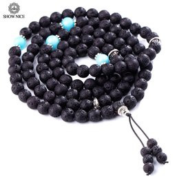 natural beaded linked chain Promo Codes - SHOW NJewelry Mens Womens Natural Stone 8mm Lava Necklace Chain Bracelets 108 Buddhist Prayer Beads amazon stone Link Wrist