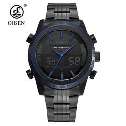 Wholesale man lcd watches - Original Fashion OHSEN Quartz Electronic Male Army Watch Men 30m Swim Man Sports Dual Time LCD Analog Wristwatch Hombre Relogio